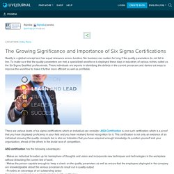 The Growing Significance and Importance of Six Sigma Certifications: ifqindia