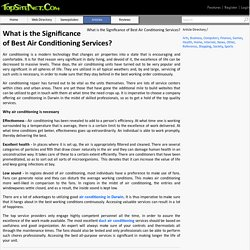 What is the Significance of Best Air Conditioning Services?