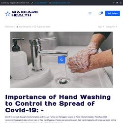 Significance of Hand Hygiene to Control Coronavirus