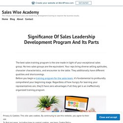 Significance Of Sales Leadership Development Program And Its Parts
