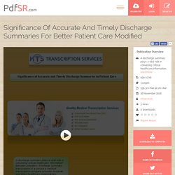 Significance of Accurate and Timely Discharge Summaries in Patient Care