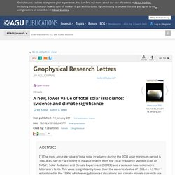 A new, lower value of total solar irradiance: Evidence and climate significance - Kopp - 2011 - Geophysical Research Letters
