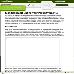 Significance Of Listing Your Property On MLS