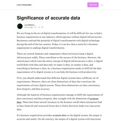 Significance of accurate data - Lisa's Newsletter