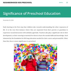 Significance of Preschool Education