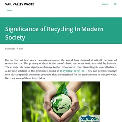 Significance of Recycling In Modern Society