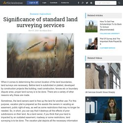Significance of standard land surveying services
