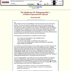 The Significance Of 'Tathagatagarbha'