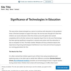 Significance of Technologies in Education