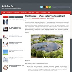 Significance of Wastewater Treatment Plant ~ Articles Buzz
