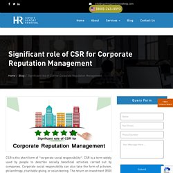 Significant role of CSR for Corporate Reputation Management
