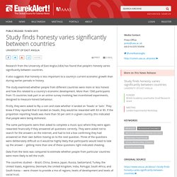 Study finds honesty varies significantly between countries