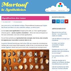 Signification des runes - Martouf le Synthéticien