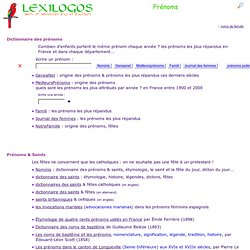 Prénoms : origine, signification, dictionnaire, documents en lig