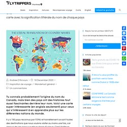 Une carte avec la signification du nom de chaque pays - Flytrippers