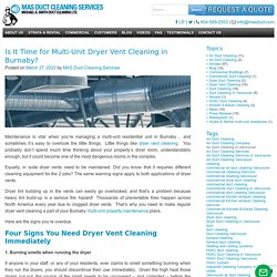 Is It Time for Multi-Unit Dryer Vent Cleaning in Burnaby?