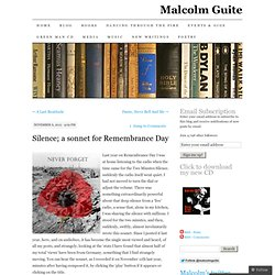 Silence; a sonnet for Remembrance Day