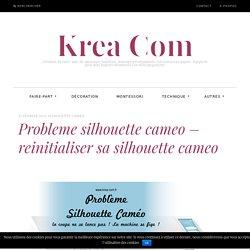 Probleme silhouette cameo - reinitialiser sa silhouette cameo - Krea Com
