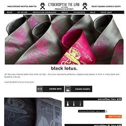 Black Lotus - Water Lily silkscreened necktie - CYBEROPTIX TIE LAB