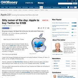 Silly rumor of the day: Apple to buy Twitter for $10B