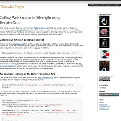 Calling Web Services in Silverlight using ReactiveXaml at Thursday Night