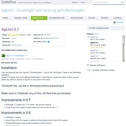 AgUnit - Silverlight unit testing with ReSharper - Download: AgUnit 0.7