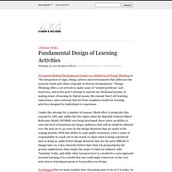 Fundamental Design of Learning Activities
