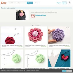 Valentine pink rose brooch crocheted flower by JennieBelleDesign