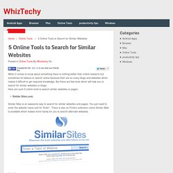 5 Online Tools to Search for Similar Websites