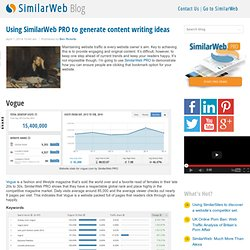Using SimilarWeb PRO to generate content writing ideas