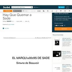 Simone de Beauvoir - Hay Que Quemar a Sade