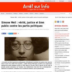 Simone Weil : vérité, justice et bien public contre les partis politiques