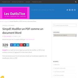 Simpdf. Modifier un PDF comme un document Word