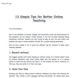 13 Simple Tips for Better Online Teaching