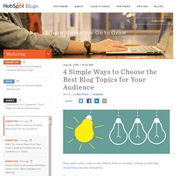 4 Simple Ways to Choose the Best Blog Topics for Your Audience