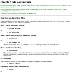 Simple Unix commands: Copying and moving files