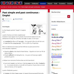 Past simple and past continuous - Emploi - English Page
