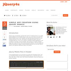 Simple App Creation Using jQuery Mobile