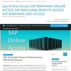 SAP S4 Simple Finance Online Access