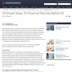 10 Simple Steps To Financial Security Before 30