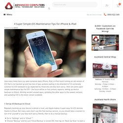 4 Super Simple iOS Maintenance Tips for iPhone & iPad -
