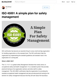 ISO 45001 A simple plan for safety management