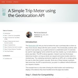 A Simple Trip Meter using the Geolocation API