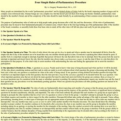 Four Simple Rules of Parliamentary Procedure