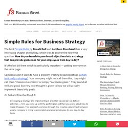 Simple Rules for Business Strategy