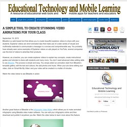 Educational Technology and Mobile Learning: A Simple Tool to Create Stunning Video Animations for Your Class