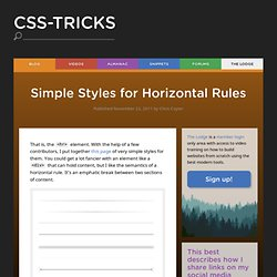 Simple Styles for Horizontal Rules