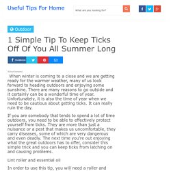 1 Simple Tip To Keep Ticks Off Of You All Summer Long - Useful Tips For Home