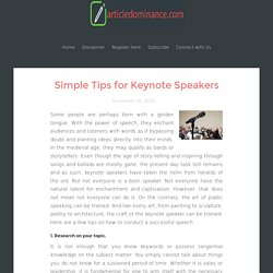 Simple Tips for Keynote Speakers