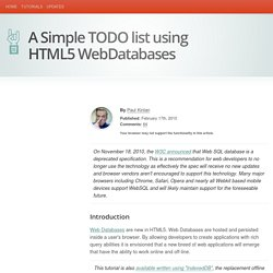A Simple TODO list using HTML5 WebDatabases